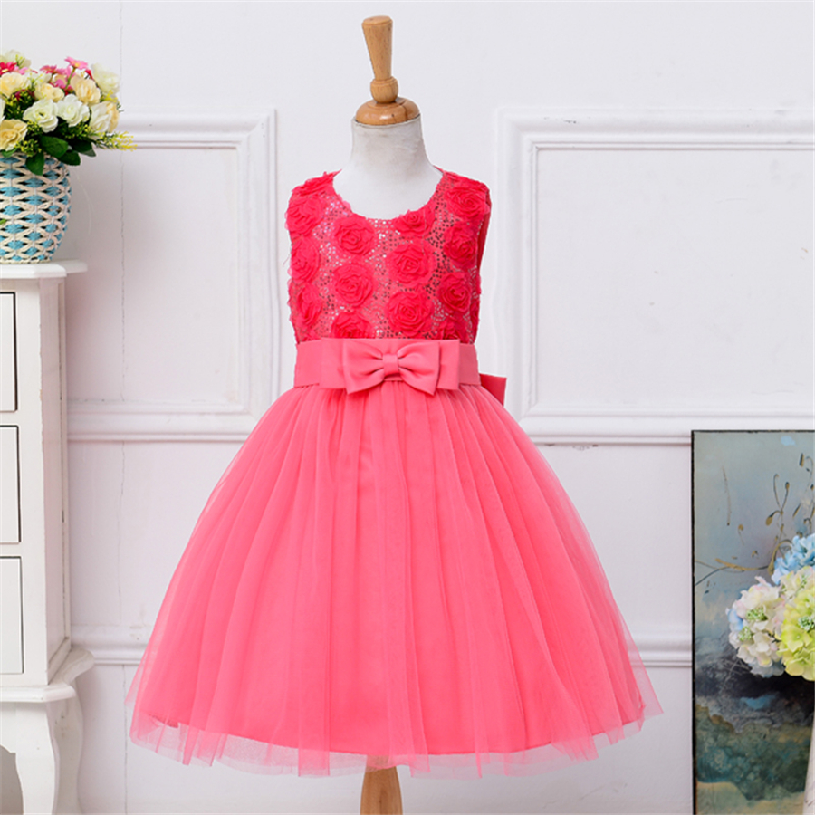 party dress for children summer watermelon red pink bridesmaid wedding rose flower girl dress child clothes baby market NQ172