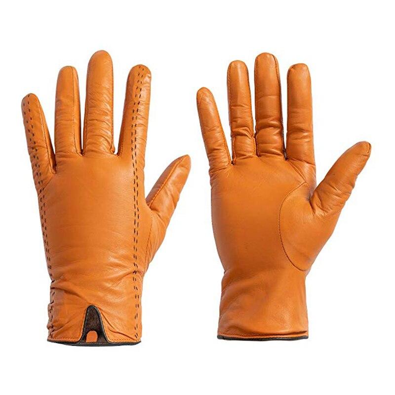 Nouveaux gants en cuir véritable pour hommes gants en peau d'agneau gants chauds d'hiver gants de conduite avec des lignes de couleur Hit