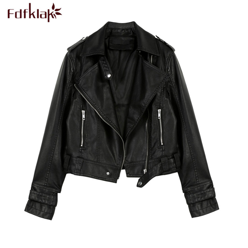 Fdfklak Fashion Locomotive   Leather   Jacket Women Spring Autumn Female Jacket Short Pu   Leather   Coat Slim Women's Jackets