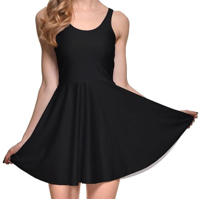 8b3a7a0ff14c Simple Black Sexy Women Tennis Sports Pleated Dress Vogue Slim Elastic Lady  Sleeveless Skater Dresses Party Sports Dress S-4XL