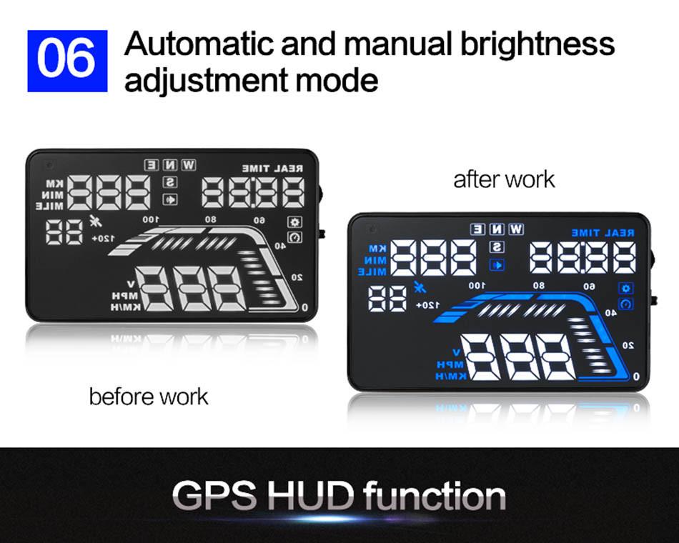 Universal Q7 5.5 Auto Car HUD GPS Head Up Display OBD II 2 Overspeed Warning Alarm Dashboard Windshield Project Speedometers-10