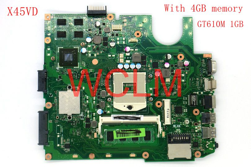 free shipping X45VD GT610M 1GB N13M-GE6-S-A1 With 4GB RAM mainboard For ASUS X45V X45VD Laptop motherboard 60-NROMB1101-C05 tf101g ep101 laptop mainboard 32g 60 ok0cmb2000 a07 free shipping