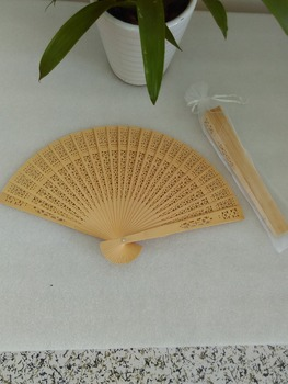 50pcs/lot  flowers design fragrance wood fan chinese hand wooden fan for wedding favor gift with gift bag