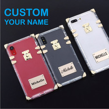Luxury Trunk Case Metal Plate Laser Engrave Custom Name Text Clear Phone For iPhone 6 6S XS Max XR 7 7Plus 8 8Plus X
