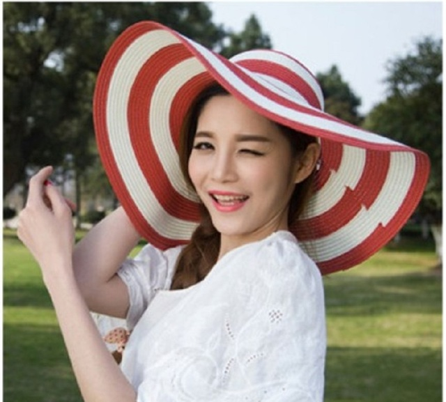 Big Brim Classic Black White Striped Straw Hat Casual Outdoor Beach Caps For Women