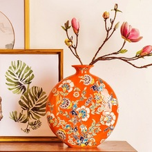 Chinese American red pastel hand-painted ceramic flat mouth vase ornaments retro European model room entrance of TV cabinet