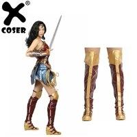 XCOSER чудо женские ботинки Косплэй реквизит костюм обувь Для женщин Одежда высшего качества PU Искусственная кожа ботинки с высоким голенищем