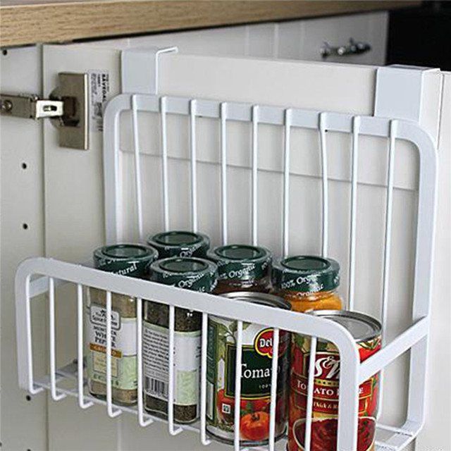 Kitchen tools food storage shelves seasoning container rack storage organizer holder stand for icebox with wall hook