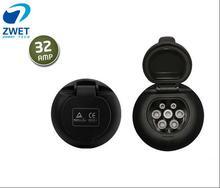 ZWET IEC 62196 2 남성 여성 충전기 ev 충전 커넥터 플러그 32amp 110 ~ 250 v 용 전기 자동차 충전 소켓
