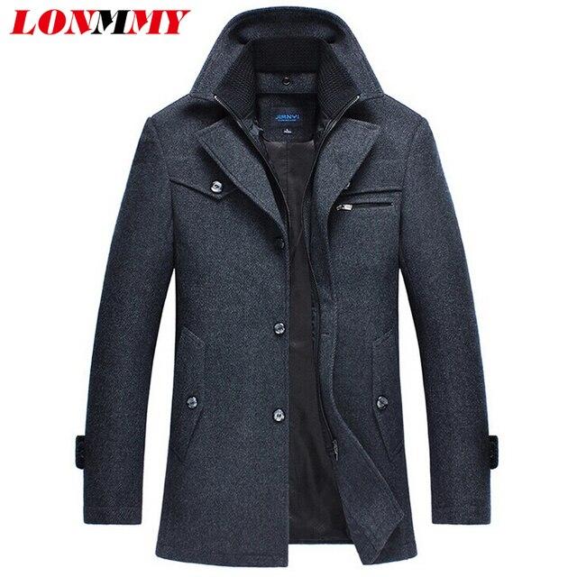 LONMMY M-4XL chaqueta de invierno los hombres abrigo de Lana de los hombres Combina jaquasculina casual cazadora hombres ropa casacos Neweta m
