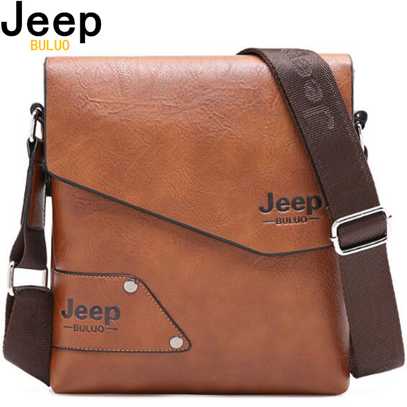 De cuero de hombre bolso marca Jeep de hombro, Crossbody bolsos para hombres de cuero de vaca hombre iPad Messenger maletín bolsa de viaje