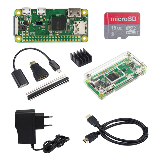US $23 89 23% OFF|Raspberry Pi Zero W kit + Acrylic Case + Heat Sink + OTG  Cable + Mini HDMI Adapter + SD Card + 2A Power Adapter + HDMI Cable-in Demo