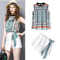 Beautiful Women Summer Shorts Suit Vintage Flowers Print Bows Stand Collar Loose Tops Blouse And White
