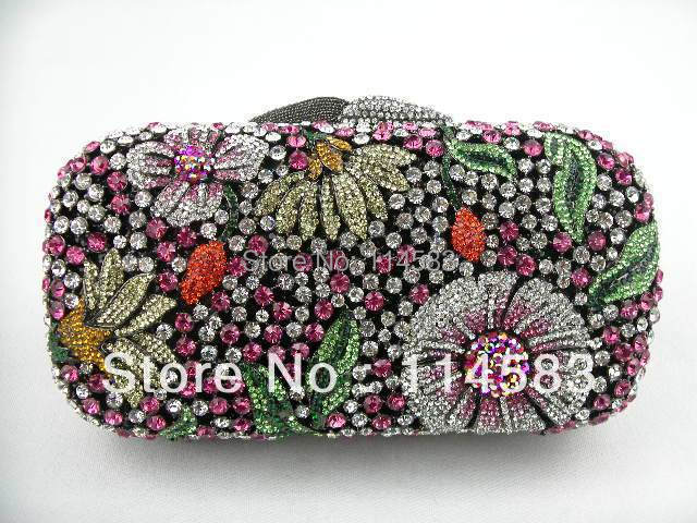 ФОТО 8122 - Ta Multi-color Floral Flower Crystal Hollow Bridal Party Night hollow Metal Evening purse clutch bag case handbag