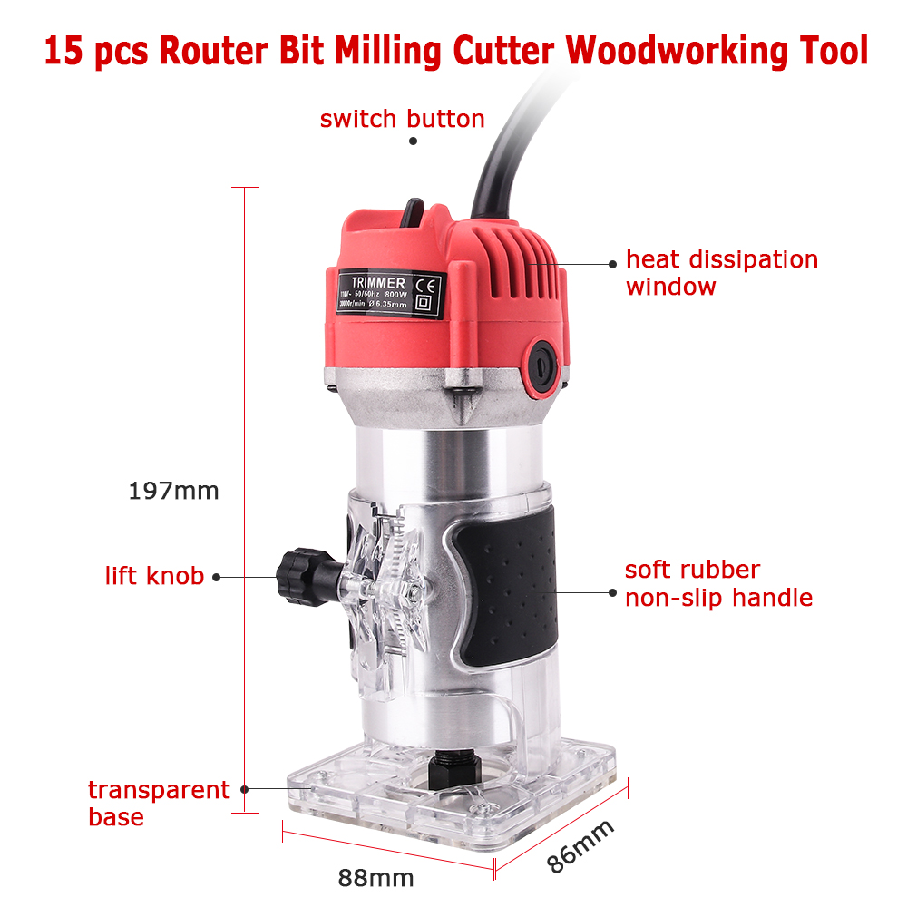 Image 2 - Woodworking Electric Trimmer 800W 30000rpm Wood Milling Engraving Slotting Trimming Machine Hand Carving Machine Wood Router-in Wood Routers from Tools
