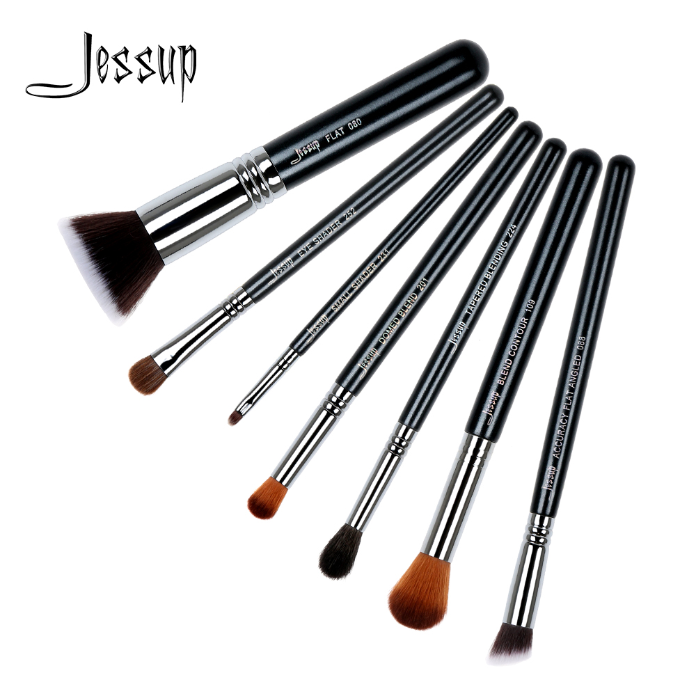 где купить Jessup brushes 7Pcs Makeup Brush Set Kabuki Foundation Blend Contour Shader Eyeliner Powder Makeup Brushes Kit Tools T119 дешево