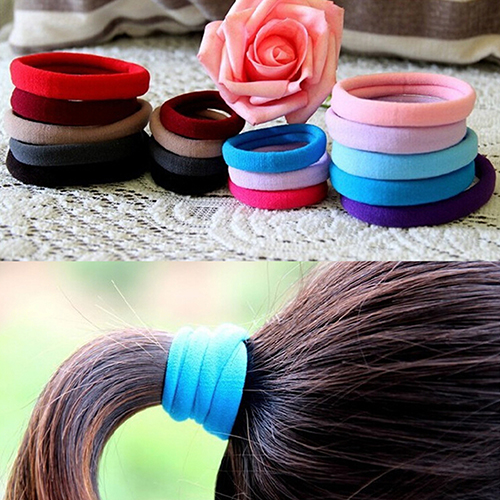 Hot 10Pcs Seamless Elastic Rope Hairband Hair Band Ponytail Holder Bracelets Scrunchie 7FQM