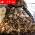 2016 New Women Warm Winter Army green&black Jacket Coats Thick Parkas Plus Size natural fox Raccoon Collar Hooded Outwear coat