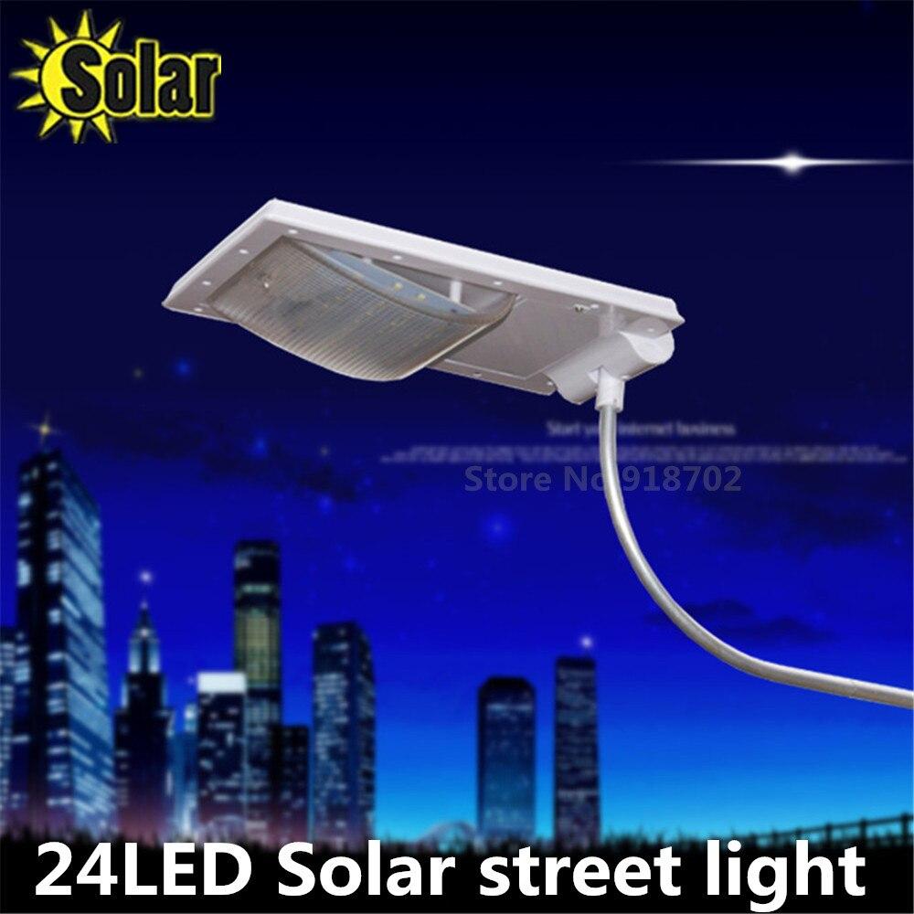 Frissített Super Bright 24 LED-ek Solar Street Light LED a falon Vízálló Solar Lamp Sensor Security Állítható Spot Lighting