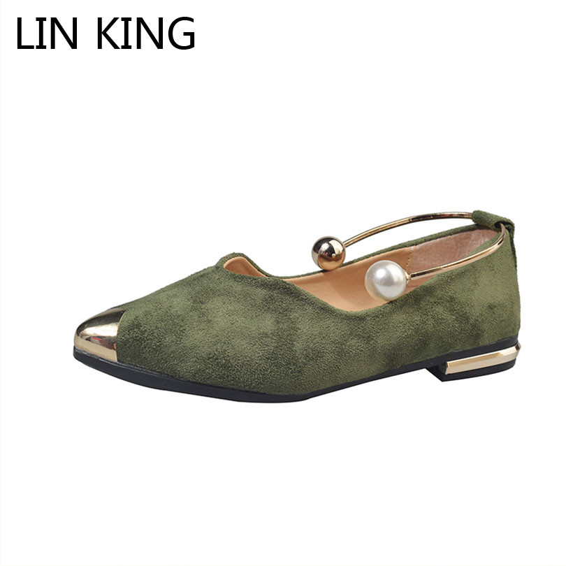LIN KING Fashion Pearl Pointed Toe Women Flats Shoes New Arrive Flock Casual Ladies Shoes Comfortable Shallow Mouth Single Shoes flock women flats 2017 pointed toe ladies single shoes fashion shallow casual shoes plus size 40 43 small yards 33 sapatos