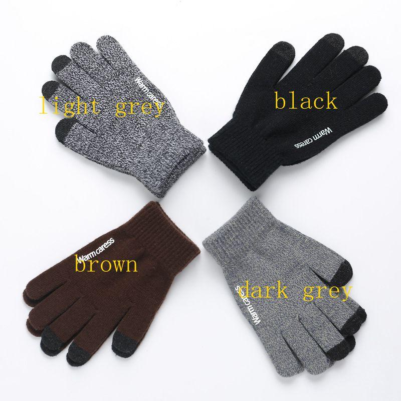 Knitting Touch Screen Gloves For Men And Women Autumn Winter Warm Wool Plus Velvet Points Non-slip Gloves