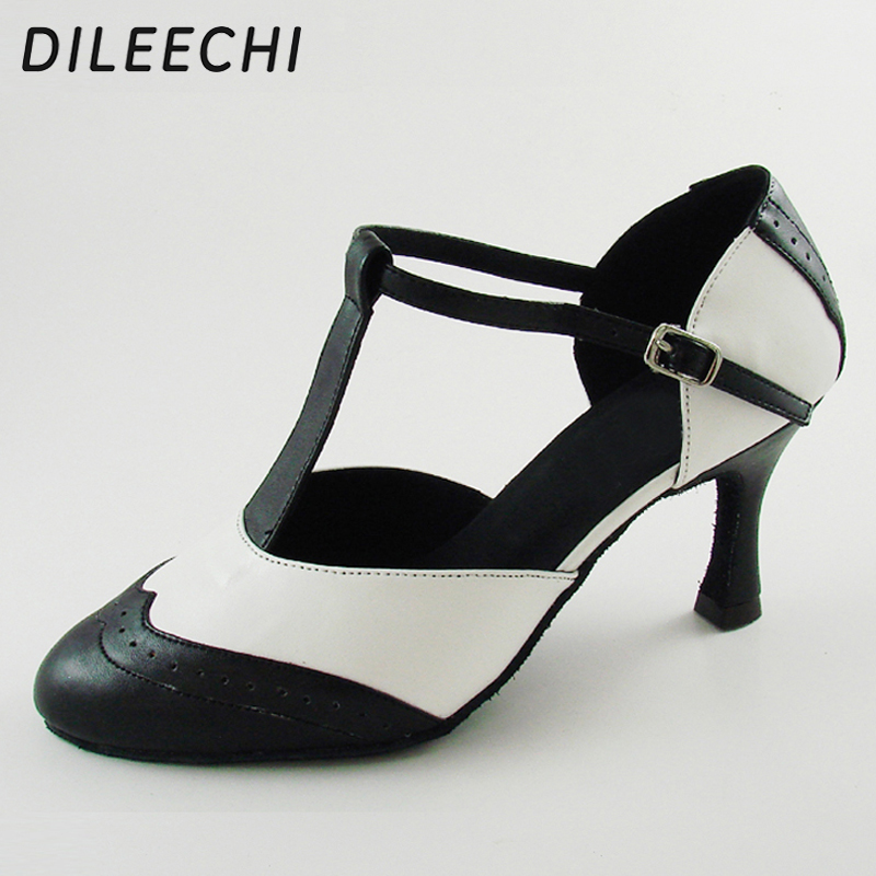 DILEECHI Brand White Real leather T Strap Latin modern dance shoes Women's High heels 7.5cm Autumn and Winter Black party shoes