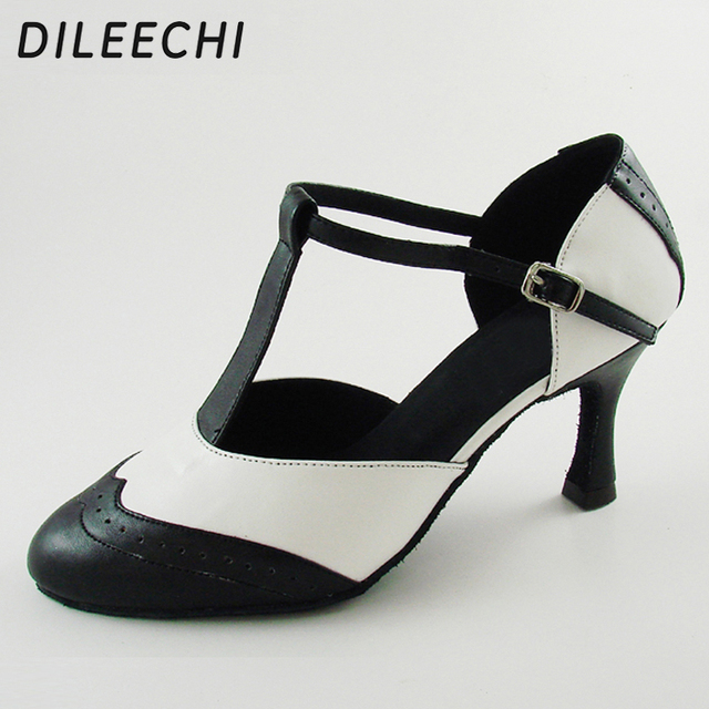 DILEECHI Brand White Real leather T Strap Latin modern dance shoes Womens High heels 7.5cm Autumn and Winter Black party shoes
