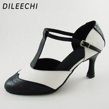 DILEECHI Marka Beyaz Gerçek deri T kayışı Latin modern dans ayakkabıları kadın Yüksek topuklu 7.5 cm Sonbahar ve kış Siyah parti ayakkabıları