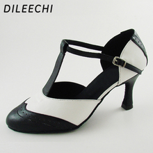 "DILEECHI מותג עור אמיתי לבן T רצועה לטינית מחול מודרני נעלי עקבים גבוהים של הנשים סתיו 7.5 ס""מ חורף שחור נעלי מפלגה"