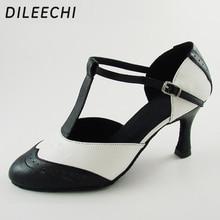 Dileechi 브랜드 화이트 리얼 가죽 t 스트랩 라틴 모던 댄스 슈즈 여성용 하이힐 7.5 cm 가을/겨울 블랙 파티 신발