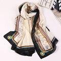 Las mujeres de La Bufanda 100% Bufanda de Seda Pura Bufanda de Marca de Lujo Caballo/Floral/Cráneo Imprimió La Bufanda Echarpes Femme Señoras Fulares bufandas de Seda