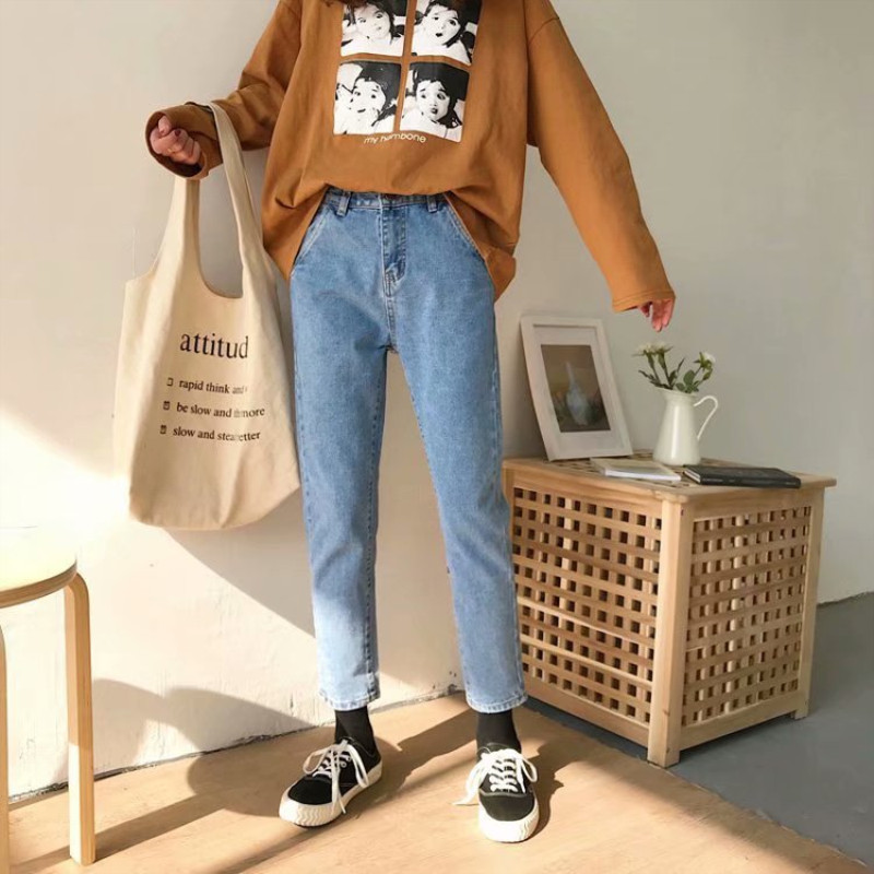 2019 New Denim Jeans For Women Harem Pants Washed Denim Pants Ankle Black Blue Pants Trousers Harem Mom Jeans Plus Size(China)