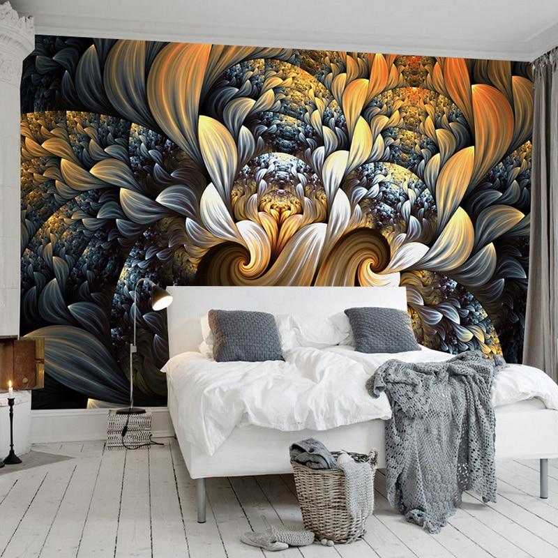 Custom Photo Wall Paper 3D Room Decor Mural Wallpaper Modern European Style Abstract Flower Pattern Art Design Wall Painting
