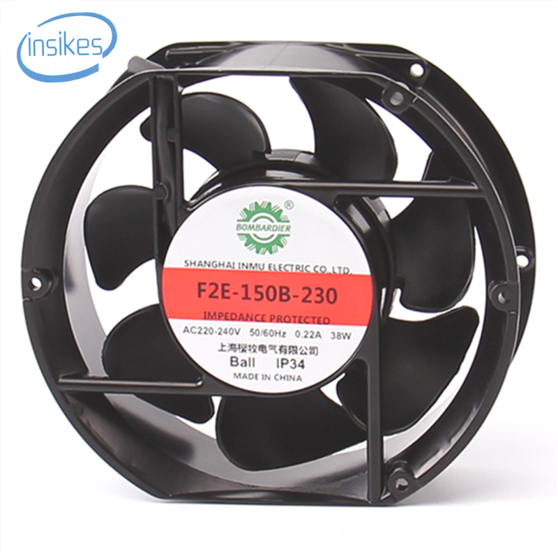 F2E-150B-230 Axial Cooling Fan AC 220V-240V 0.22A 38W 2600RPM 17250 17cm 172*150*50mm 2 Wires 50/60HZ tg17055ha2bl ac 220v 0 3a 46w 50 60hz 3100rpm double ball bearing 17255 17cm 172 150 55mm 2 wires silent cooling fan