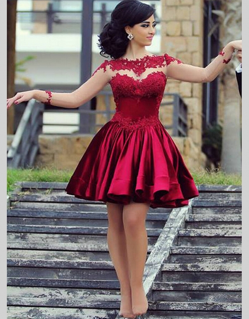 Sexy Long Sleeve Short Dark Red Lace Cocktail Dresses Satin ...