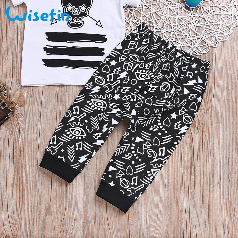 Wisefin Baby Boys Clothes Set Short Sleeve Top Skull Print Kids Boys Tracksuit 2Pcs Baby Children Clothing Set For Boy Tee+Pants
