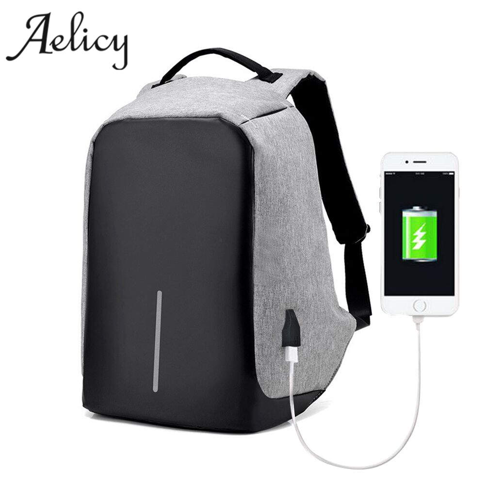 Aelicy  Anti-theft Waterproof Laptop Backpack Men External USB Charge Notebook Backpack for Women Computer Bag Mochila Feminina tuguan notebook bag external usb anti theft charging waterproof laptop backpack for men and women business travel computer bag