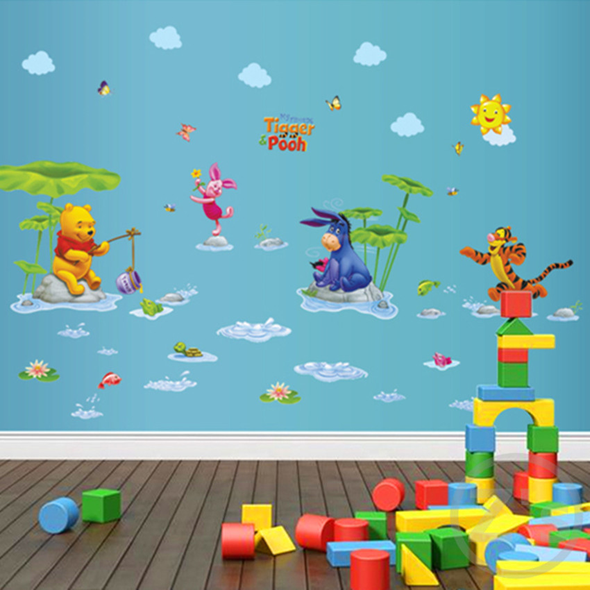 Zs Nalepka Winnie the Pooh Wall Sticker Home Decor Cartoon Wall Decal za otroško sobo Decal Vinyl