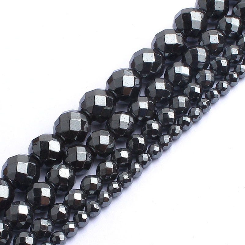 Natrual Faceted Black Hematite Stone Round Beads For Jewelry Making Bracelet Necklace 2/3/4/6/8/10mm 15inches Diy JewelryNatrual Faceted Black Hematite Stone Round Beads For Jewelry Making Bracelet Necklace 2/3/4/6/8/10mm 15inches Diy Jewelry