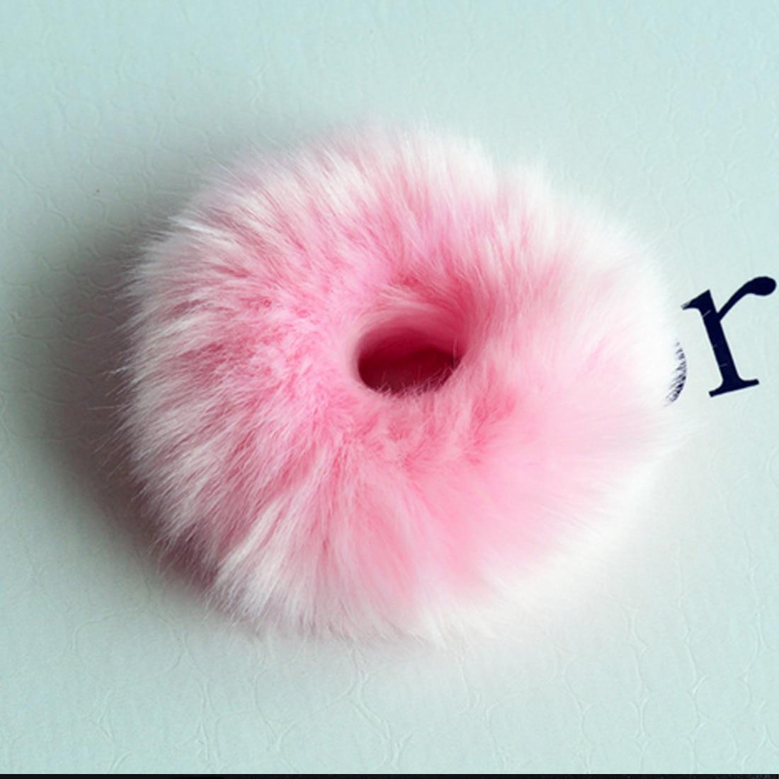 Новинка, настоящая меховая кроличья шерсть, мягкие эластичные резинки для волос для женщин и девочек, милые резинки для волос, резинка для хвоста, модные аксессуары для волос - Цвет: Розовый