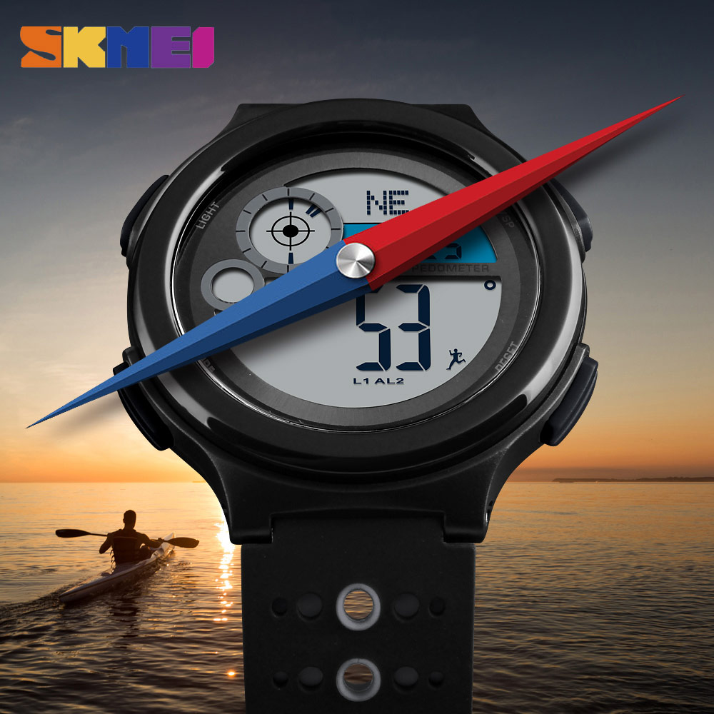 Fashion SKMEI Compass Watch Sport Digital Wristwatches Outdoor Sports Men Watch Pedometer Calorie Waterproof Relogio Masculino skmei men sports waterproof watch stainless steel fashion digital wristwatches