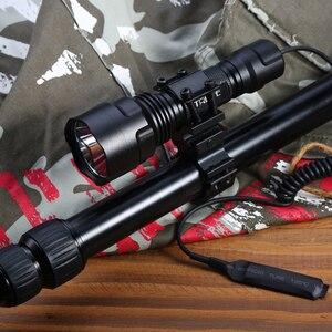 Image 3 - Linterna LED C8 de 4000LM, foco táctico T6 L2 18650, luz de caza de aluminio, superluces de lanzamiento largo, 5 modos para Rifle