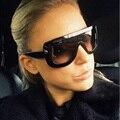 Novo 2016 óculos de Sol Enormes Rebite ADELE CL Marca Designer Celebridade Kim Kardashian Mulheres Sexy Óculos de Sol Flat Top Lady Feminino