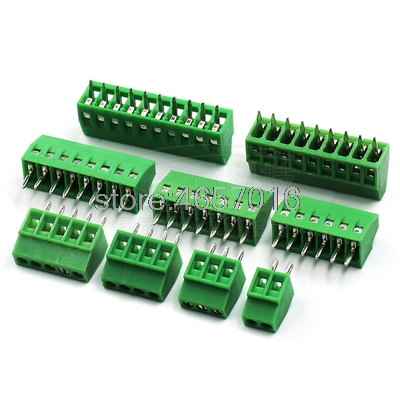 2-Pin 2.54mm Pitch PCB Mount Screw Terminal Block Connector 10x