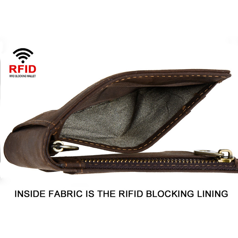 CONTACT'S men RFID Genuine Leather Money Clip Card Wallet Crazy Horse Thin Bifold cash clamp cash holder male Slim RFID Purse 3
