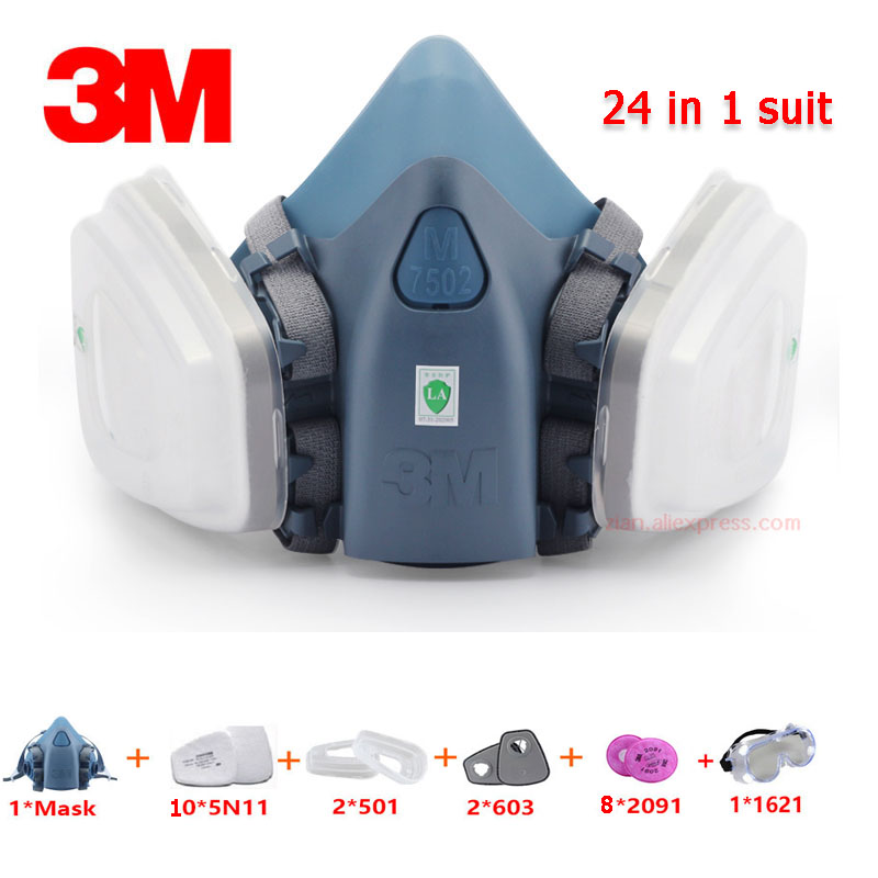 3M 7502 Gas Mask Industrial Particle Filter Dust-proof Respirator 24pcs Set With PC Goggles Face Protective Mask