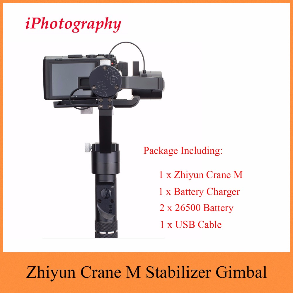 Zhiyun Crane M 3-Axis Stabilizer Gimbal for Sports Cameras Smartphones for Sony black magic DC for Lumix DMC Mirrorless cameras zhiyun crane m crane m 3 axis brushless handle gimbal stabilizer for smartphone mirroless dslr gopro 125g 650g