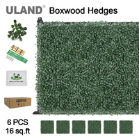 ULAND Artificial Boxwood Hedge Privacy Fence 16 sqft Garden Balcony Wedding Decoration Hanging Office Home Wall Ornaments 6 pack