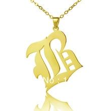 AILIN Personalisierte Halskette 925 Silber Brief Halskette Angepasst Alt Englisch Schrift Custom Typenschild Halskette Weihnachten Schmuck