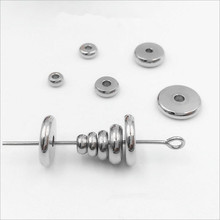 50pcs 4/5/6/8/10mm Stainless Steel Round Flat Metal Spacer Beads Fit Bracelet Necklace Spacer Ring DIY Jewelry Findings Z688(China)